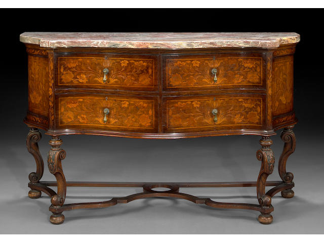 A Dutch Baroque style marquetry sideboard