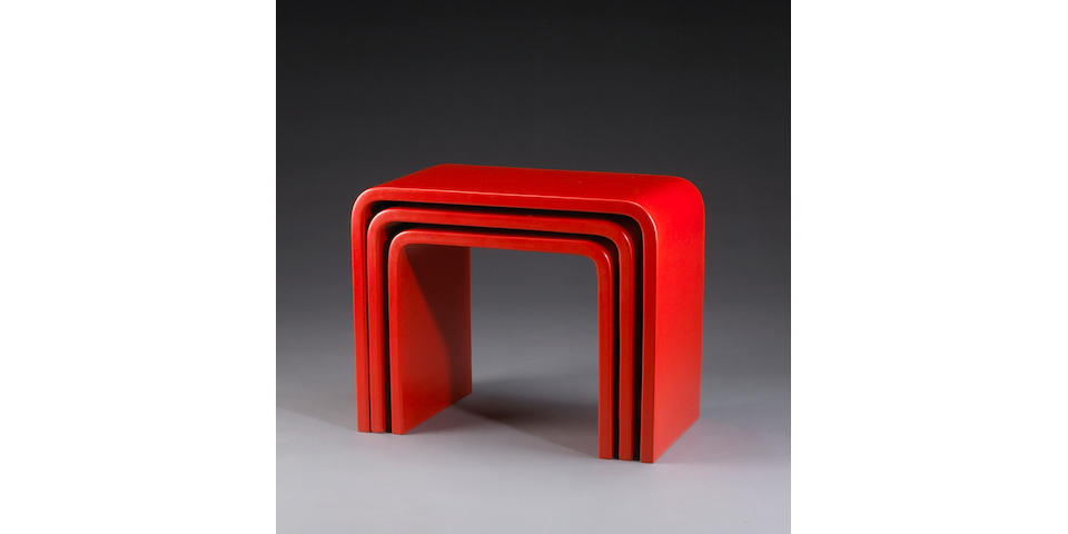 A set of three Robert Kuo red lacquered 'Waterfall' nesting tables