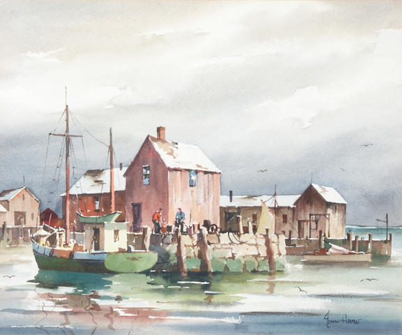 John Knowles Hare (American, 1884-1947) Fishing Village sight 9 3/4 x 11 3/4in