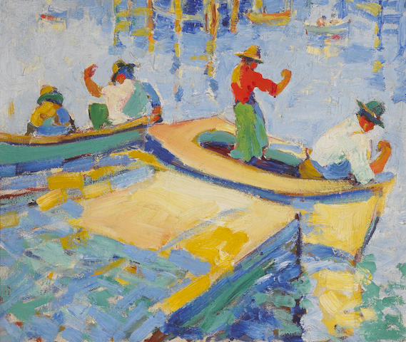 Selden Connor Gile (American, 1877-1947) Monterey Fishermen, 1926-27 15 x 18in