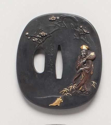 A soft metal aikuchigi tsuba By Takahashi Yoshitsugu, 19th Century