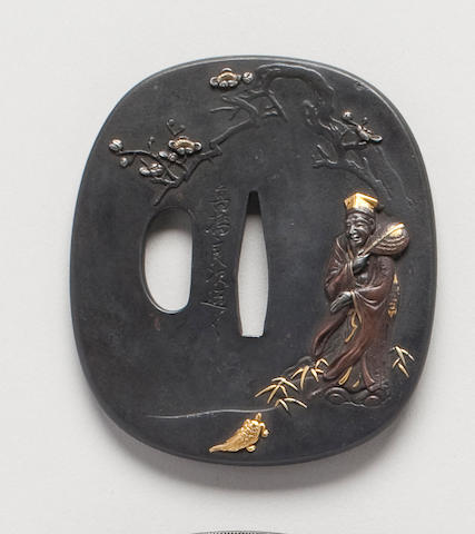 A soft metal aikuchigi tsuba By Takahashi Yoshitsugu, 19th Century