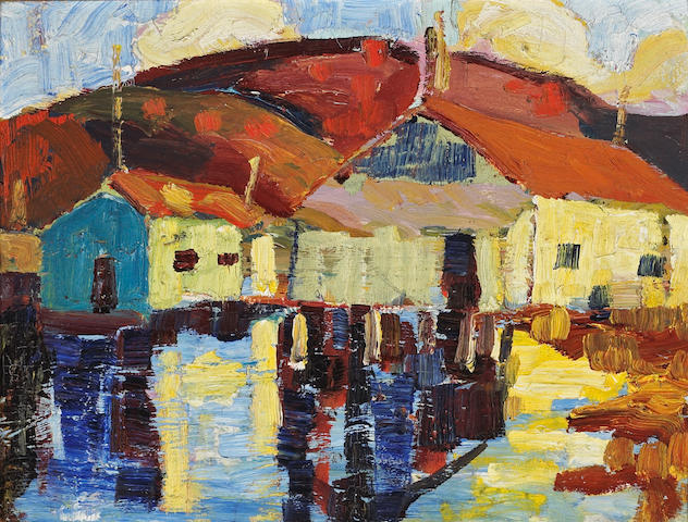 Selden Connor Gile (American, 1877-1947) Wharf buildings  11 3/4 x 15 3/4in