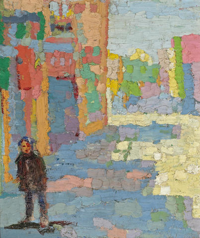 Bernard Von Eichman China street scene 16 1/2 x 14 1/4in