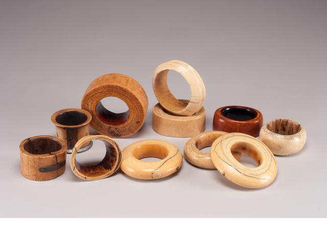 A group of eleven African ivory bangles