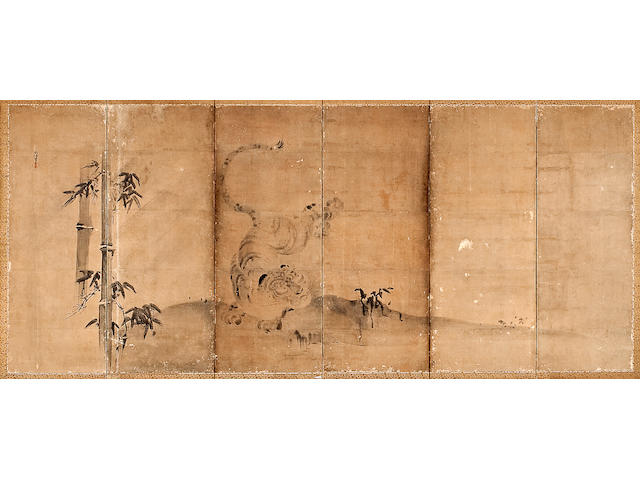Kano Naonobu (1607-1650)<br>Dragon and Tiger