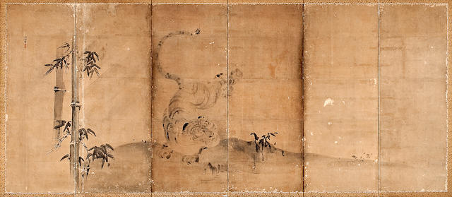 Kano Naonobu (1607-1650) Dragon and Tiger