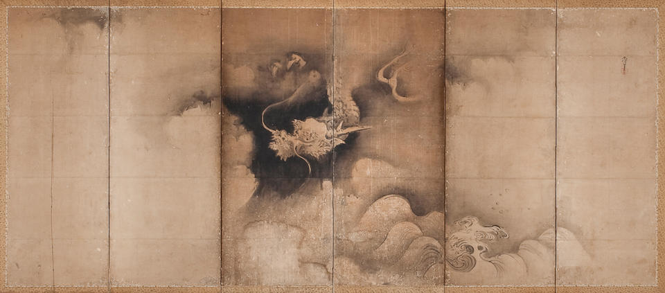 Kano Naonobu (1607-1650) Dragon and Tiger