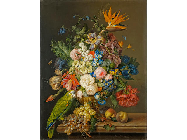 Franz Xavier Petter (Austrian, 1791-1866) A still life of roses, tulips, a bird of paradise, and other flowers in an urn, beside a green parrot, grapes and peaches on a marble ledge; also a still life of roses, hydrangeas, poppies and other flowers in an urn with an African Grey parrot, grapes, peaches and walnuts on a marble ledge (a pair) 36 x 27 1/4in (91.5 x 69.5cm)