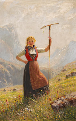 Hans Dahl (Norwegian, 1849-1937) A summer day in the mountains 29 1/4 x 19 1/4in (74.3 x 48.9cm)