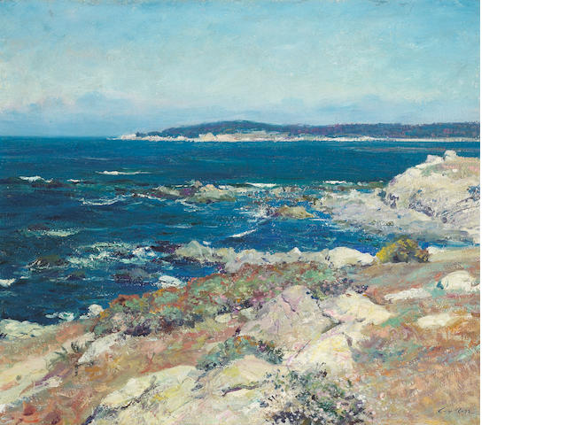 Guy Rose (American, 1867-1925) Carmel Seascape (A Blue Sea, Carmel) 21 x 25in