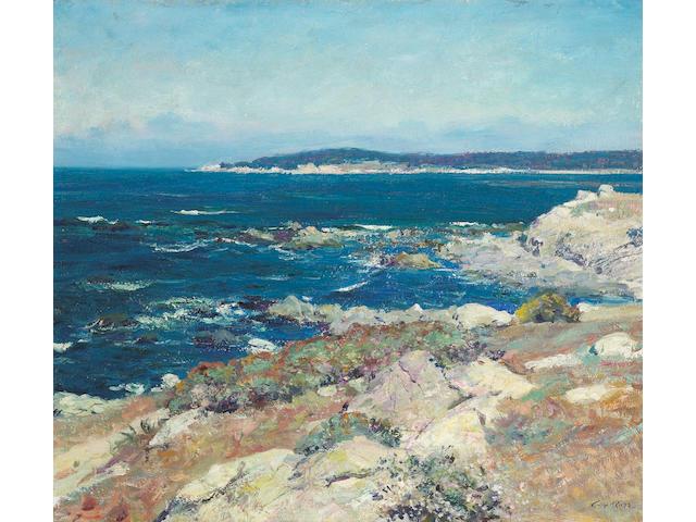 Guy Rose (American, 1867-1925) Carmel seascape (A blue sea, Carmel) 21 x 25in