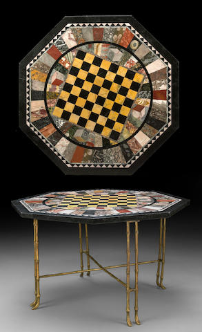 An Italian specimen marble table top