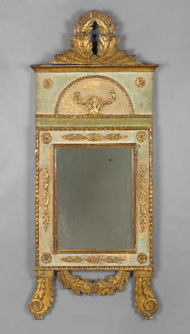 An Italian Neoclassical parcel gilt and paint decorated mirror