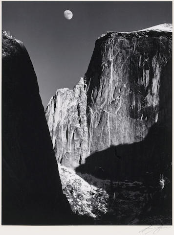 Ansel Adams (American, 1902-1984); Moon and Half Dome, Yosemite National Park;