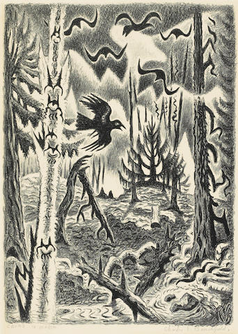 Charles Burchfield (American, 1893-1967); Crows in March;