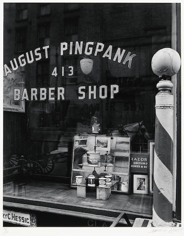 Berenice Abbott (American, 1898-1991); August Pingpank Barber Shop;