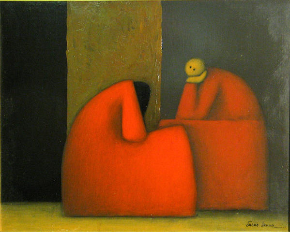 Jesus Mariano Leuus (Mexican, born 1948) Platicando, 1965 15 3/4 x 19 3/4in