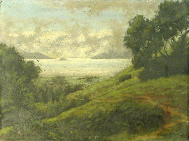 California School, 19th Century The Golden Gate from the Piedmont Hills, 1896 10 1/2 x 14in unframed