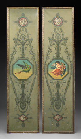 A pair of Directoire papier-peinte wallpaper panels
