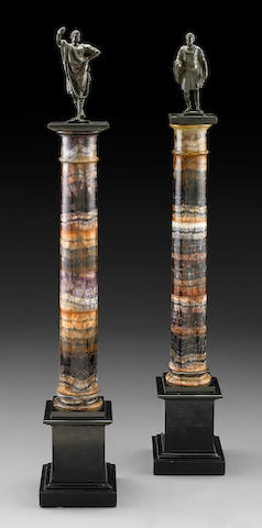 An impressive pair of blue john columns