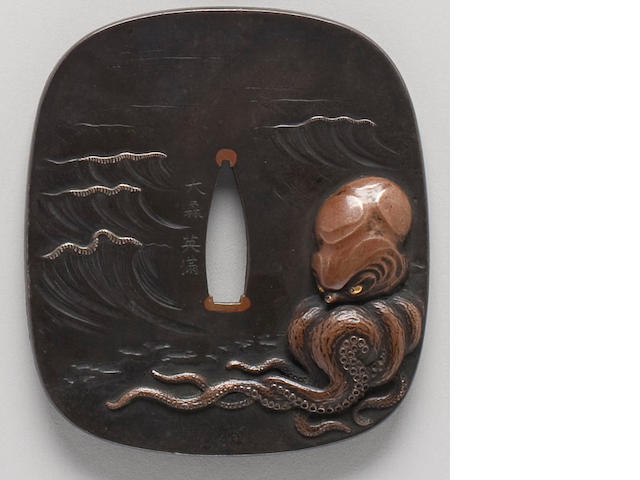 A copper and shibuichi and iron kinko tsuba Late Edo/Meiji Period