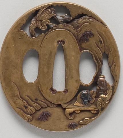 A Hamano style sentoku marubori tsuba 19th Century