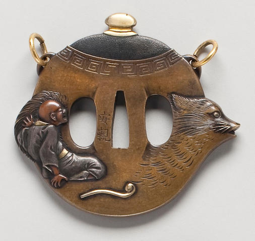 A kinko sentoku, shibuichi, shakudo and copper tsuba in the form of a badger tea kettle By Yasuchika