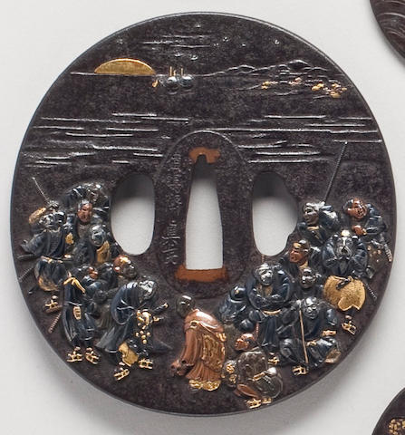 An iron and takairozogan marugata Mito style tsuba  By Raimai Shinsai, 19th Century