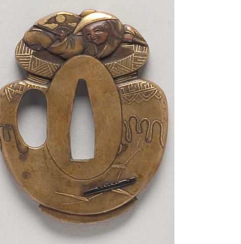 An amusing sentoku tsuba of a drunk shoji in a sake vat 19th Century