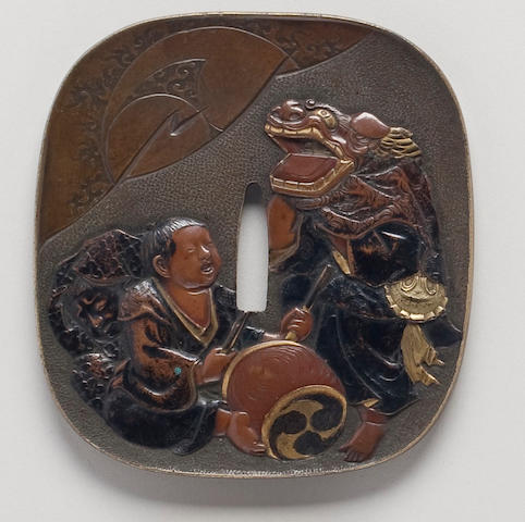 A large kinko nadekakugata sentoku tsuba Dated Ansei 5 with cyclical date, 2nd month (1859)