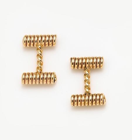 A pair of eighteen karat gold cufflinks