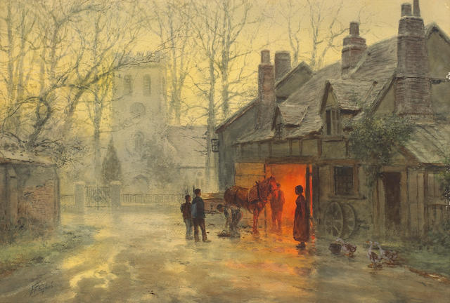Frank F. English (American, 1854-1922) The blacksmith sight: 20 1/2 x 30in