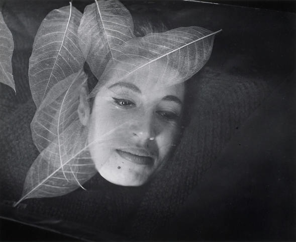 Imogen Cunningham (American, 1883-1976); Beth Altman with Taiwan Leaves;