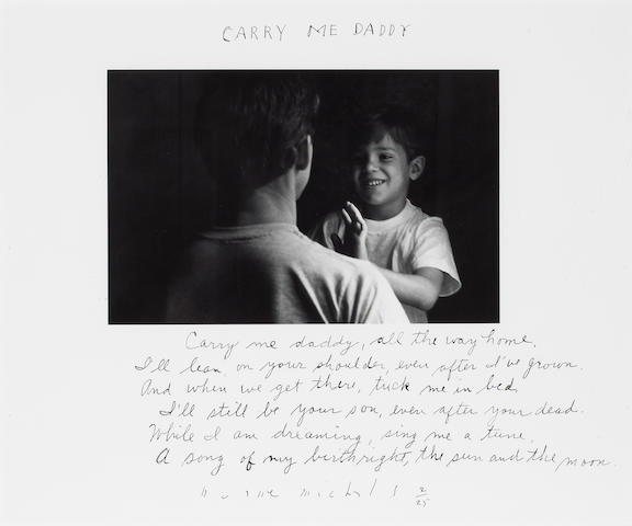 Duane Michals (American, born 1932); Carry me Daddy; My father could walk in the sky; (2)
