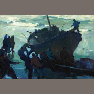 Armin Hansen (American, 1886-1957) Fishermen salvaging a wreck 26 x 38in