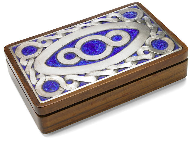 An Ottaviani enameled silver and rosewood box