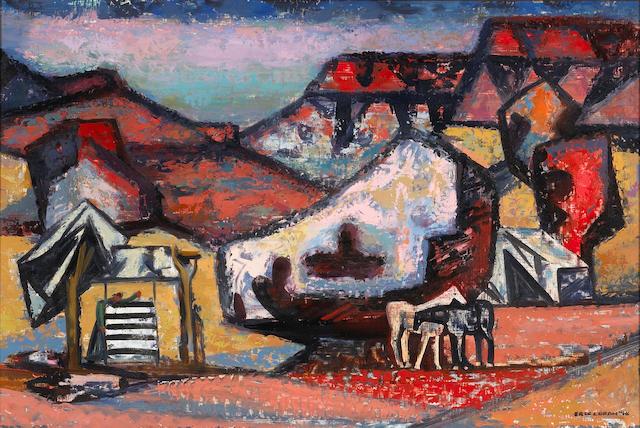 Erle Loran (American, 1905-1999) Navajo Desert camp, 1948 24 x 36in