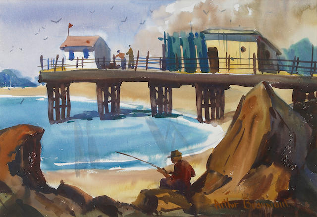 Arthur Edwaine Beaumont (American, 1890-1978) Pier at San Simeon 14 x 21in