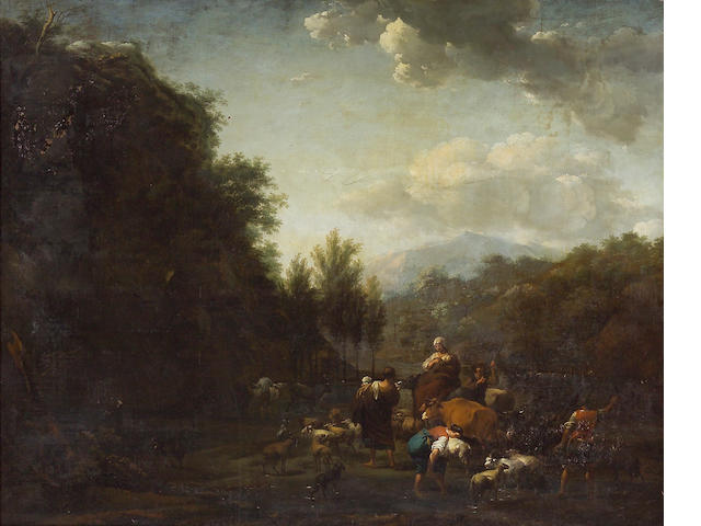 Abraham Jansz Begeyn (Dutch, 1637-1697) An extensive landscape with drovers and other figures with sheep, cattle and goats by a stream 42 x 52 1/2in (106.7 x 133.4cm)