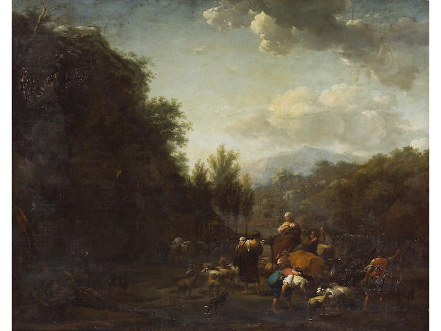 Abraham Jansz. Begeyn (Dutch, 1637-1697) An extensive landscape with drovers and other figures with sheep, cattle and goats by a stream 42 x 52 1/2in