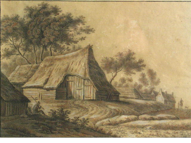 Dutch School, 18th Century A view of a farm with figures 7 1/4 x 10in