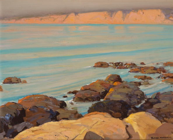 Alfred R. Mitchell (American, 1888-1972) 'La Jolla Cliffs, Quiet Sea' 16 x 20in