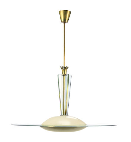 A Gio Ponti crystal, brass and enameled aluminum chandelier