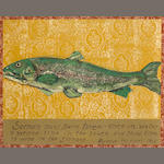Ira Yeager (American, born 1938) Omne Vivum Ex Ovo; Salmon must swim thrice (2) first 24 x 20in (61