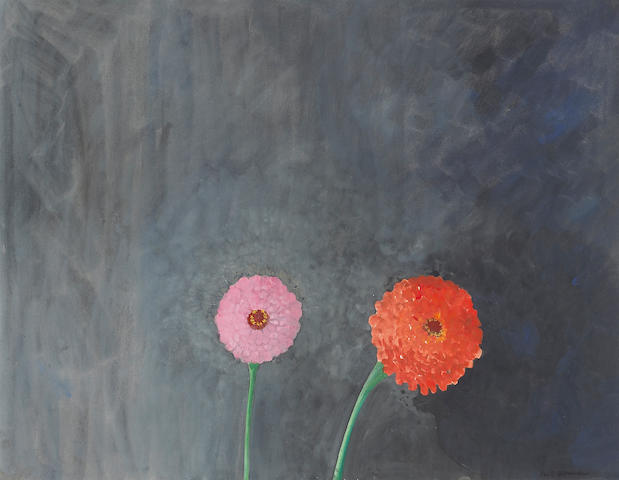 Paul Wonner (American, 1920-2008) Zinnias, 1969 18 x 23in (45 x 58cm)