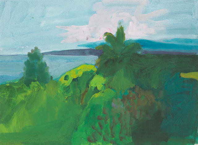Paul Wonner (American, 1920-2008) Ocean View from Malibu 13 1/2 x 18in (34 x 45cm)