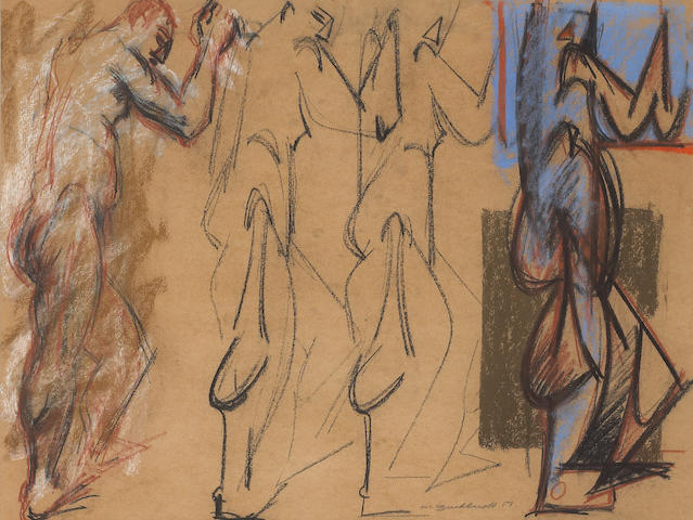 Hans Burkhardt, Four figure Studies, pastel, 17 1/2 x 23 1/2 in. with a group of 8 unframed works