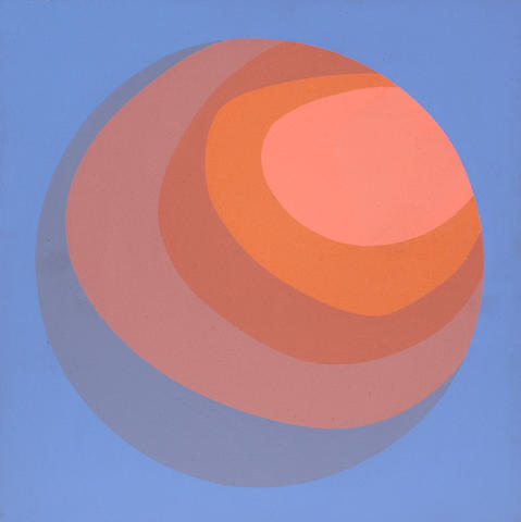 Helen Lundeberg (American, 1908-1999) Planet on Blue, 1965; Planet on Green, 1965 (2) first 12 x 12in (30 x 30cm) second 10 x 10in (25 x 25cm)