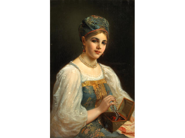 After Konstantin Makovsky <br>Lady with jewelry box with pearls * ON INSPECTION, TO BE LOOKED AT BY RUSSIAN SPECIALIST * signed indistinctly l/l, o/c, 31 1/2 x 21in